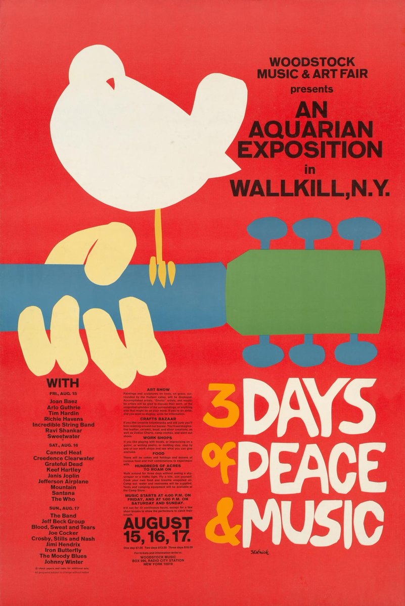 #Onthisday 50 years ago, more than 400,000 people gathered on a dairy farm in upstate New York for the Woodstock Music and Art Fair. 🕊️✌️🎸 #Woodstock50 📸Arnold Skolnick. Woodstock Music and Art Fair, 1969. #MetRockandRoll