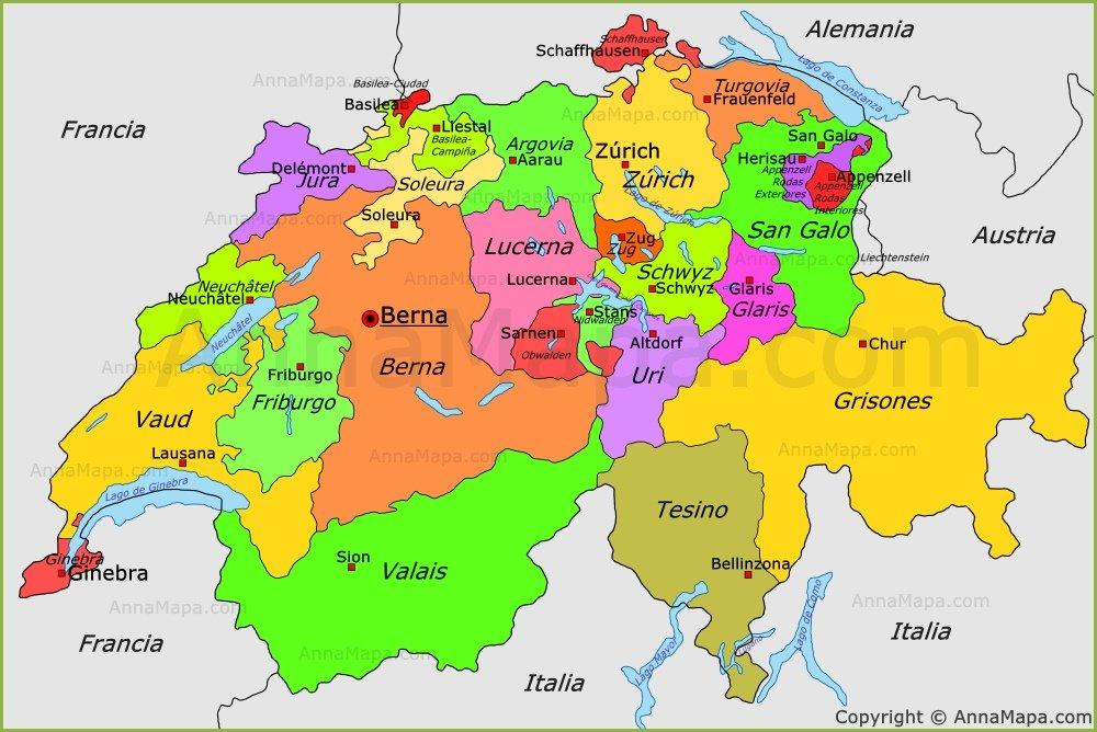 Mapa Politico De Suiza.Cantones Suizos 26 Http Annamapa Com Suiza Mapa Politico