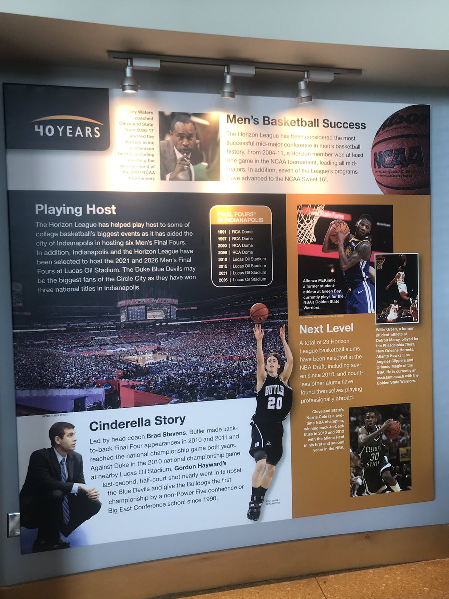 Cleveland State prominently featured in @HorizonLeague exhibit in the NCAA Hall of Champions. Former Vikings @pg30_Cole and @CoachWaters_Way on display celebrating the 40th anniversary of the Horizon League. #GoVikes