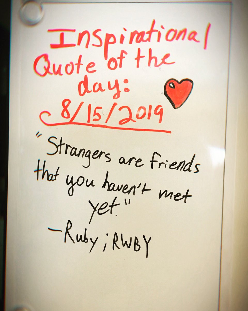 """""""Strangers are friends that you haven't met yet."""" -Ruby; RWBY #RWBY #InspirationalQuotes <br>http://pic.twitter.com/5PreFTAeuw"""
