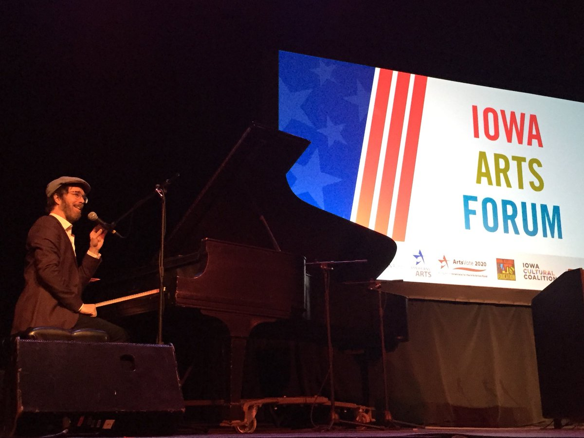 Great talk today with Iowans about arts policy, education, funding!  Oh! Gotta get to the gig!  Thanks all!