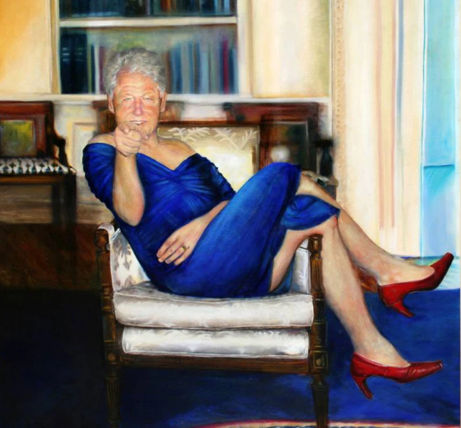 BILL CLINTON IN THE BLUE DRESS..... Doesn't get any better !!!  This is the only hope for the beleaguered democrats.  .