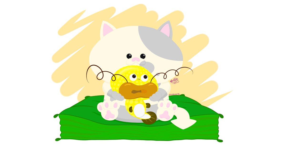 """El super cute de Justito/Lil' Judd con """"su"""" Volbagre/Zapfish :3 <3 !!  (¡Miau! ~ ¡¡El resultado final me gustó más de lo que esperaba!!)  #Splatoon #Splatoon2 #NintendoSwitch #Justito #LilJudd #Volbagre #Zapfish @SplatoonJP"""