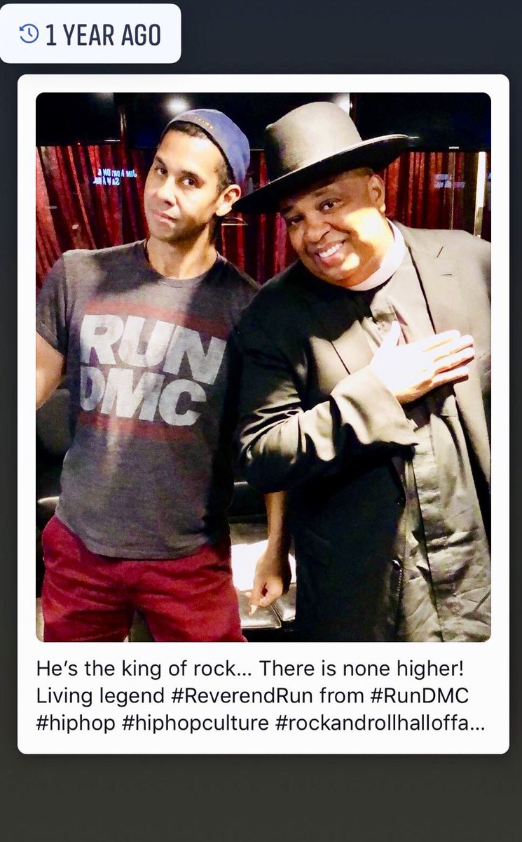 "#tbt  he's the king of rock, there is none higher! . yeah, this one time I decided to "" be that guy"" wearing the T-shirt of the band, to interview the artist. THA GOD, @RevRunWisdom of the #LEGENDARY #RUNDMC #hiphop #hiphopmusic #hiphopnation #hiphopinternational <br>http://pic.twitter.com/8gzxloG1D6"