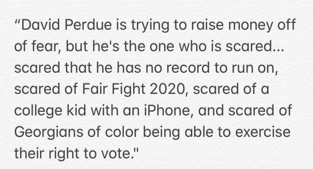 """The response from a @staceyabrams spokesman: """"David Perdue is trying to raise money off of fear, but he's the one who is scared ..."""" #gapol<br>http://pic.twitter.com/L1U5WtOHca"""