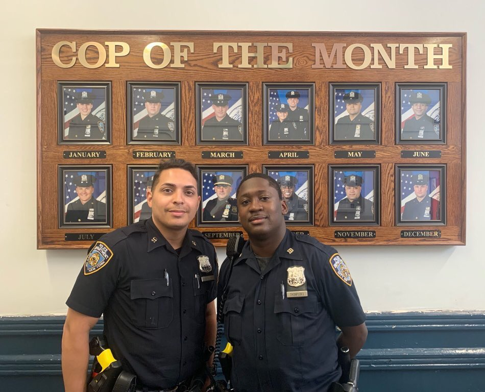 Looks like the @NYPD10Pct has to make room for these two faces on the wall behind them❗️  Thanks to the excellent work by Officers Aviles and Thompson, an unconscious man was able to breathe again! These officers swiftly responded to the aided job and administered Naloxone.