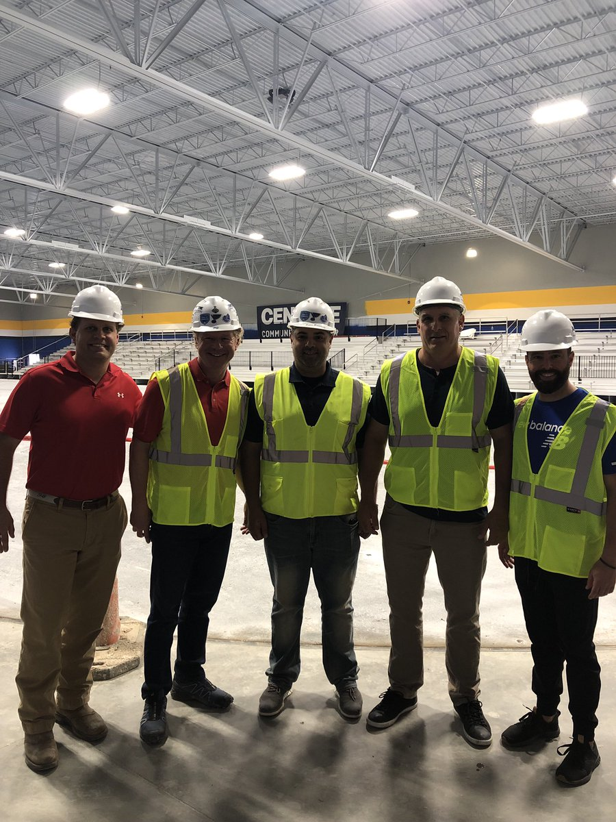 @StLouisBlues Head Coach Craig Berube and Goaltending Coach David Alexander join @LegacyIceFound Chairmen Patrick Quinn, Summit Real Estate Group's Chris Collins, and @STLCIC General Manager Lance Rosenberg for a tour of the Centene Community Ice Center.
