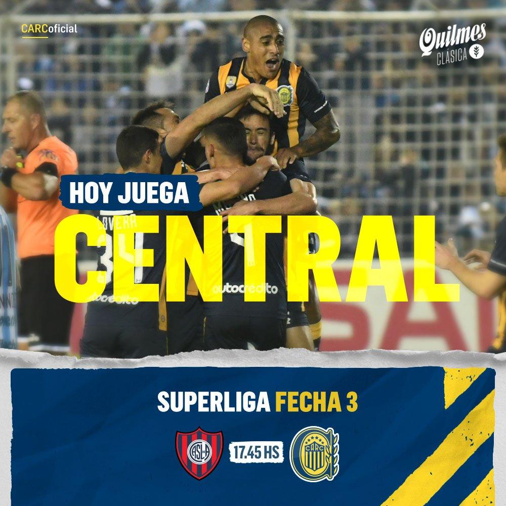 #HoyJuegaCentral! 💛💙 🕓 17.45 hs 🏟️ Estadio Nuevo Gasómetro 📺 TNT Sports 👨⚖️ Fernando Rapallini