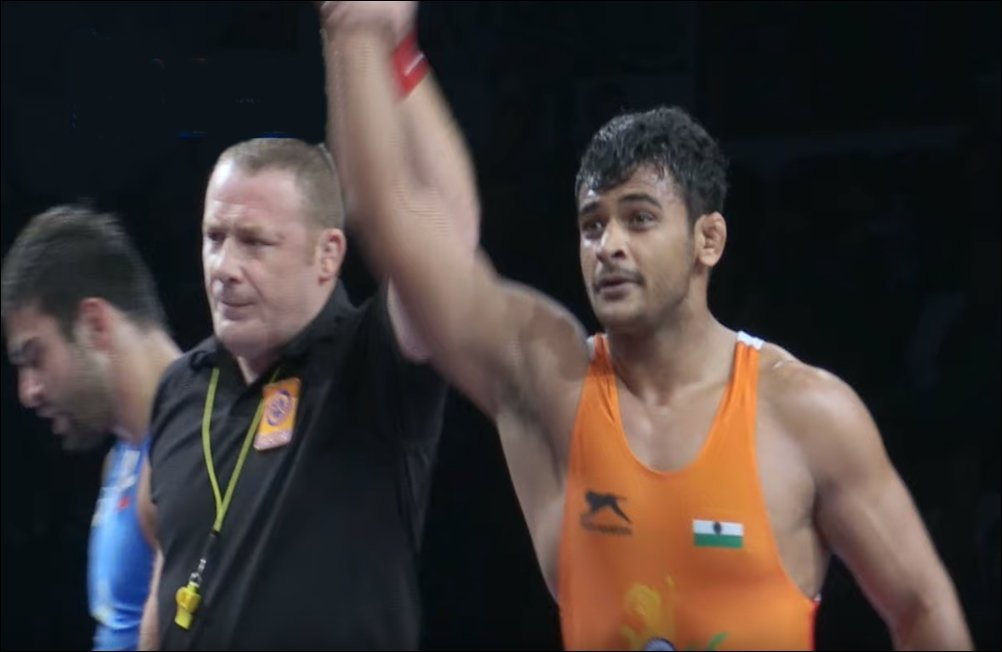 Naib Subedar #DeepakPunia of Army #Sports Institute #MissionOlympicWing wins gold medal in 86 kg #Freestyle weight category at World Junior #Wrestling Championships in Estonia. Our sportsmen are striking success after success.  #Proud #IndianArmy https://t.co/HQYSTnzOTR