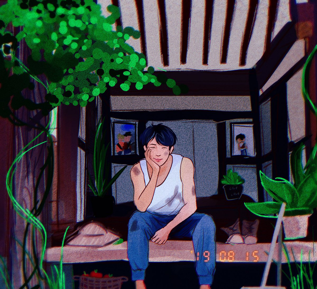 Farmer Namjoon let's his plants grow wherever they desire 💗 #namjoon #btsfanart