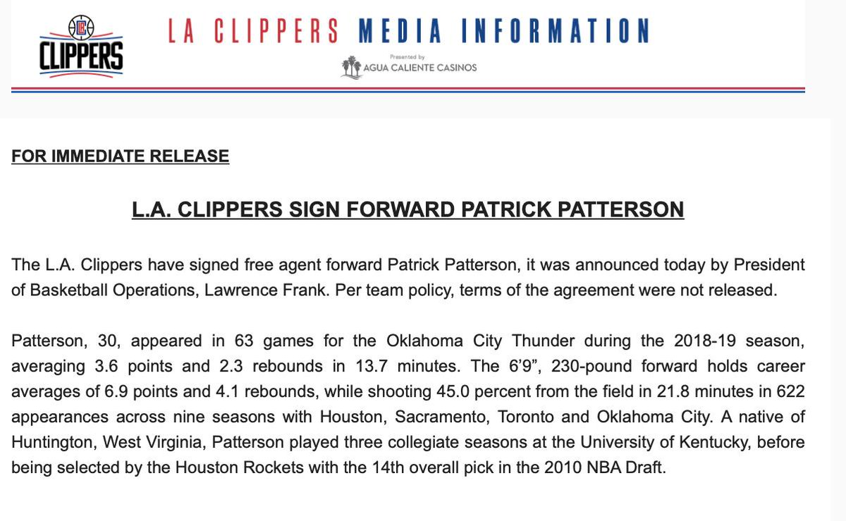 The #Clippers have made the signing of Patrick Patterson official.
