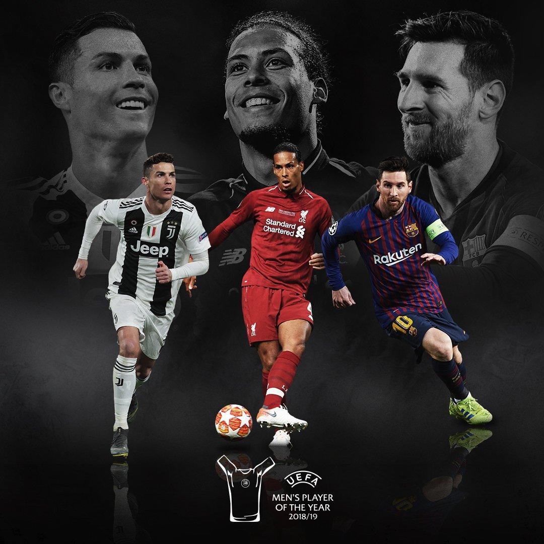 ✨ NOMINADOS al Premio Jugador del Año 2018/19 de la UEFA ✨⭐ Leo Messi⭐ Cristiano Ronaldo⭐VirgilvDijk¿por cuál votan?🗓 Los ganadores de los #UEFAAwards serán anunciados durante el #UCLDraw, el 29 de agosto 🏆