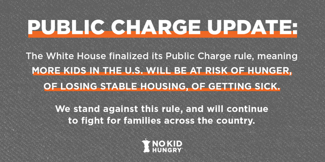 The @WhiteHouse finalized its #PublicCharge rule, which puts more kids at risk of hunger in the U.S. We stand against this rule and will continue to fight for children & families across the nation. bit.ly/31DP1k1 #ProtectFamilies