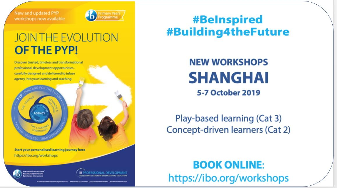 #Building4theFuture #Shanghai New workshops available in Shanghai 5 - 7 Oct 2019Play-based learning (C3) & Concept-driven learners (C2)Don't miss out - register now! #BeInspired:  http://bit.ly/31A9iXG