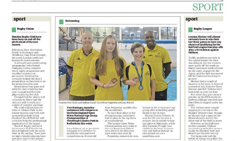 Haringey Aquatics On Twitter Our Open Water Swimmers Rose P And Luca R Were In The Hamandhigh Last Week