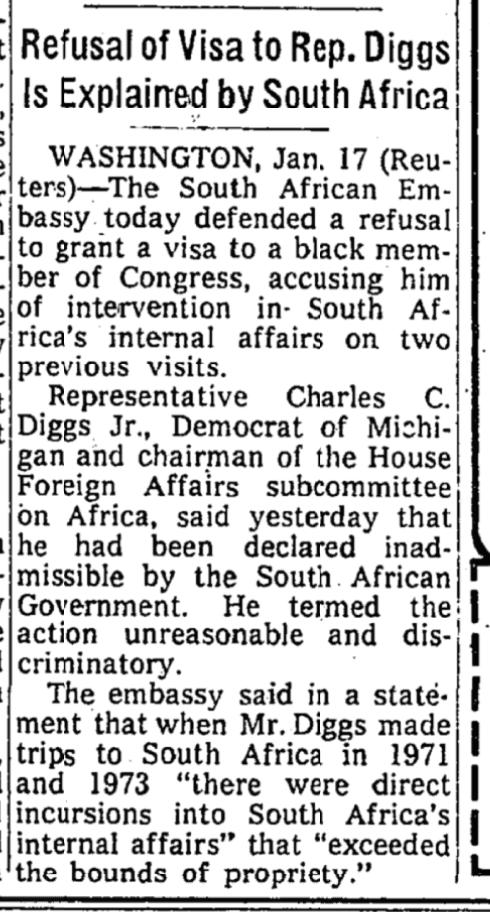 @RashidaTlaib @IlhanMN In 1975, South Africas apartheid government denied a black member of Congress an entry visa, accusing him of intervention in South Africas internal affairs.
