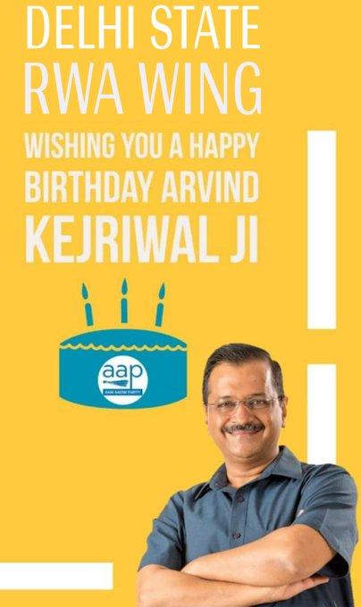 Delhi State RWA wing Wishing you A Happy birthday Arvind kejriwal ji