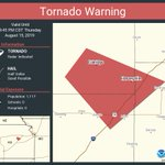 Image for the Tweet beginning: Tornado Warning continues for Eskridge