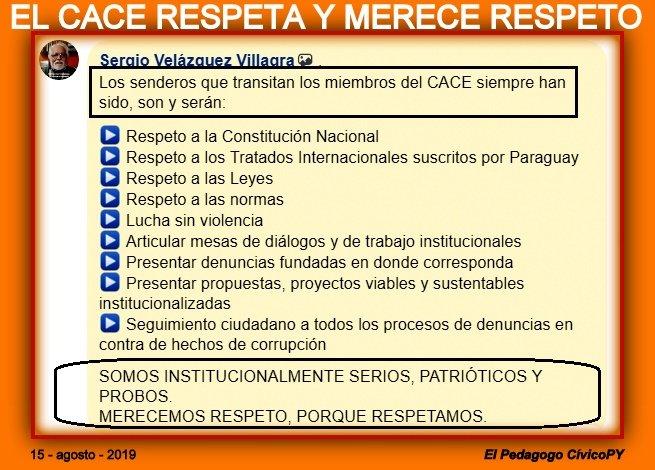 QUIEN RESPETA, MERECE LA RECÍPROCA (Ciudadanos Autoconvocados - Comisión Escraches) En Paraguay existe una ciudadanía madura, institucionalizada, criteriosa, patriótica que lucha en contra de la IMPUNIDAD, la madre de la CORRUPCIÓN que ha minado las instituciones republicanas.