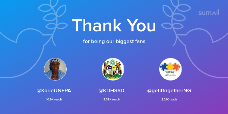 Our biggest fans this week: KorieUNFPA, KDHSSD, getittogetherNG. Thank you! via sumall.com/thankyou?utm_s…