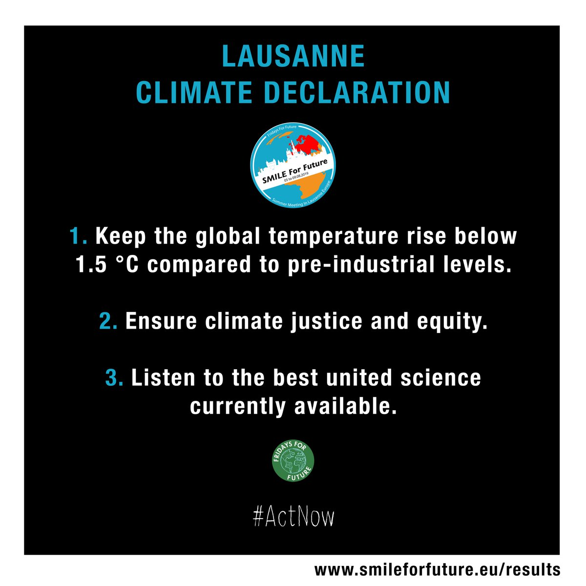 This Friday it is our honour to announce the official release of the #LausanneClimateDeclaration!🌍✊ 400 young activists from 38 countries unite behind 3 essential demands and 1 clear call to #ActNow. What have YOU been doing about the #ClimateEmergency today?🔥