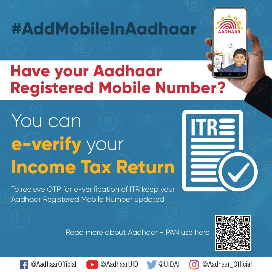 Instantly e-Verify your Income Tax Return with Aadhaar. All you need is - your registered mobile number for the OTP verification. Read more here:  https:// uidai.gov.in/contact-suppor t/have-any-question/292-faqs/your-aadhaar/pan-aadhaar.html  …  #AddMobileInAadhaar<br>http://pic.twitter.com/6BqIcwMJBU