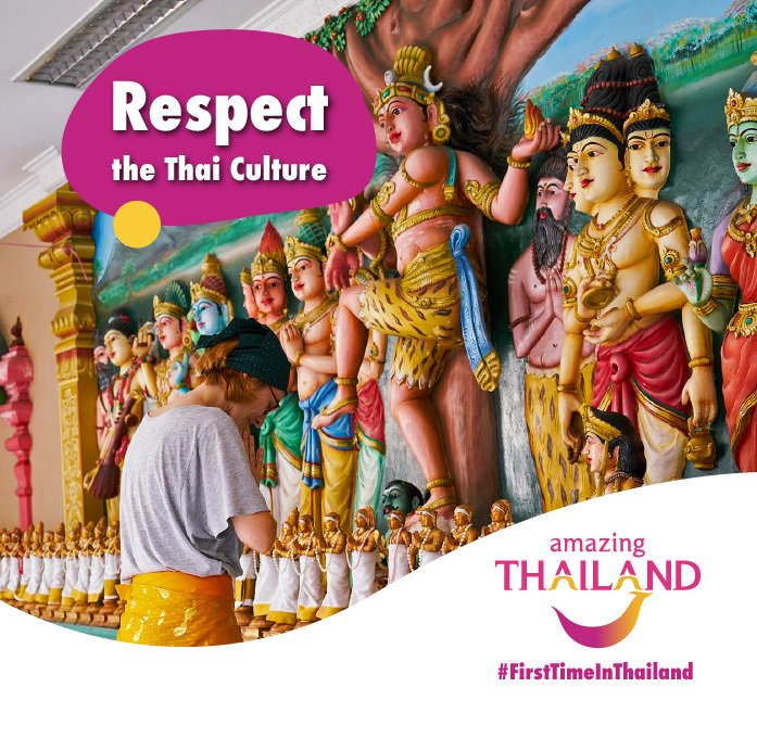 #FirstTimeInThailand Before going to Thailand for the very first time, you need to know how to show respect for Thai customs by greeting others with the Wai. Palms of your hands together at your chest level and bow your head. #amazingthailandsouthafricapic.twitter.com/nCkT4Z3MG6
