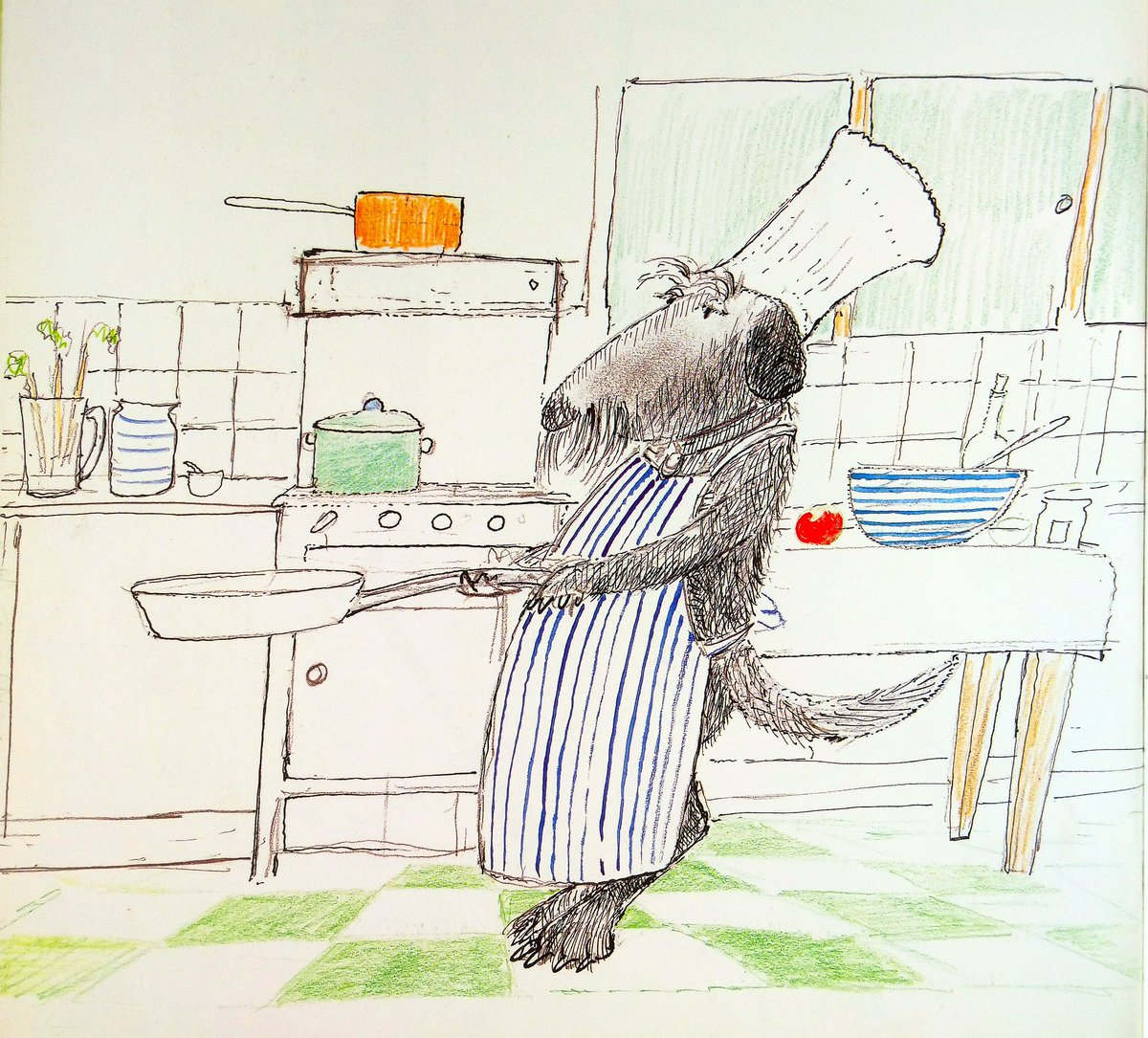 """#BookIllustrationOfTheDay is by John Burningham for """"Courtney"""" (1994). I'll be joining Catherine Rayner to celebrate the great man's life & work TODAY at the Edinburgh Book Festival, 5.30. I love his deft characterisation - the gentle Courtney, in quirky yet sensitive line. <br>http://pic.twitter.com/OqYfs7UqTf"""