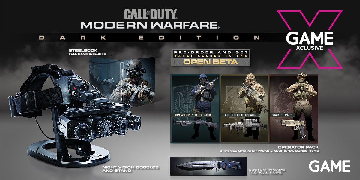 "GAME Exeter på Twitter: ""We have ONE PS4 #CallofDutyModernWarfare  #DarkEdition available to preorder! Includes game, Night Vision Goggles +  display stand & steelbook. Digital items: Custom In-game Tactical Knife,  ""All Ghillied"" Up"