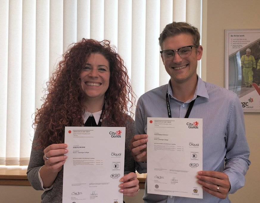 Congratulations to skills and employment adviser @KimMcGinty and labour manager Dan Parkinson on achieving their @cityandguilds level 3 award in education and training from @uxbridgecollege @H_C_U_C #CareersinConstruction vgcgroup.co.uk/staff/our-team…