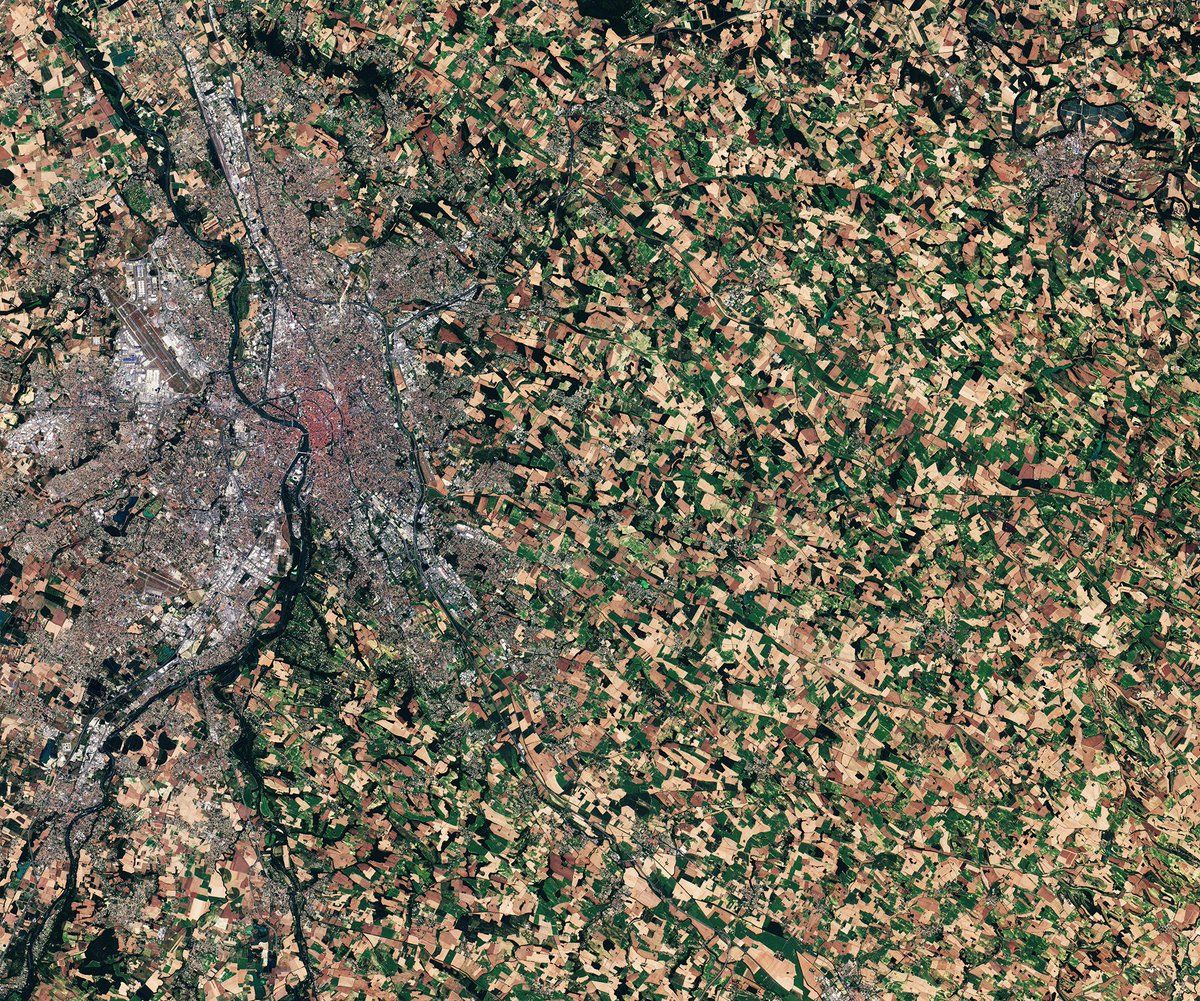This @CopernicusEU #Sentinel-3A image was taken on 10 July 2017 over #Toulouse in #France (the city was nicknamed la Ville Rose because of the pinkish tint of its terracotta roof tiles, which can be seen here, even from space!). 👉 esa.int/spaceinimages/… #EarthFromSpace