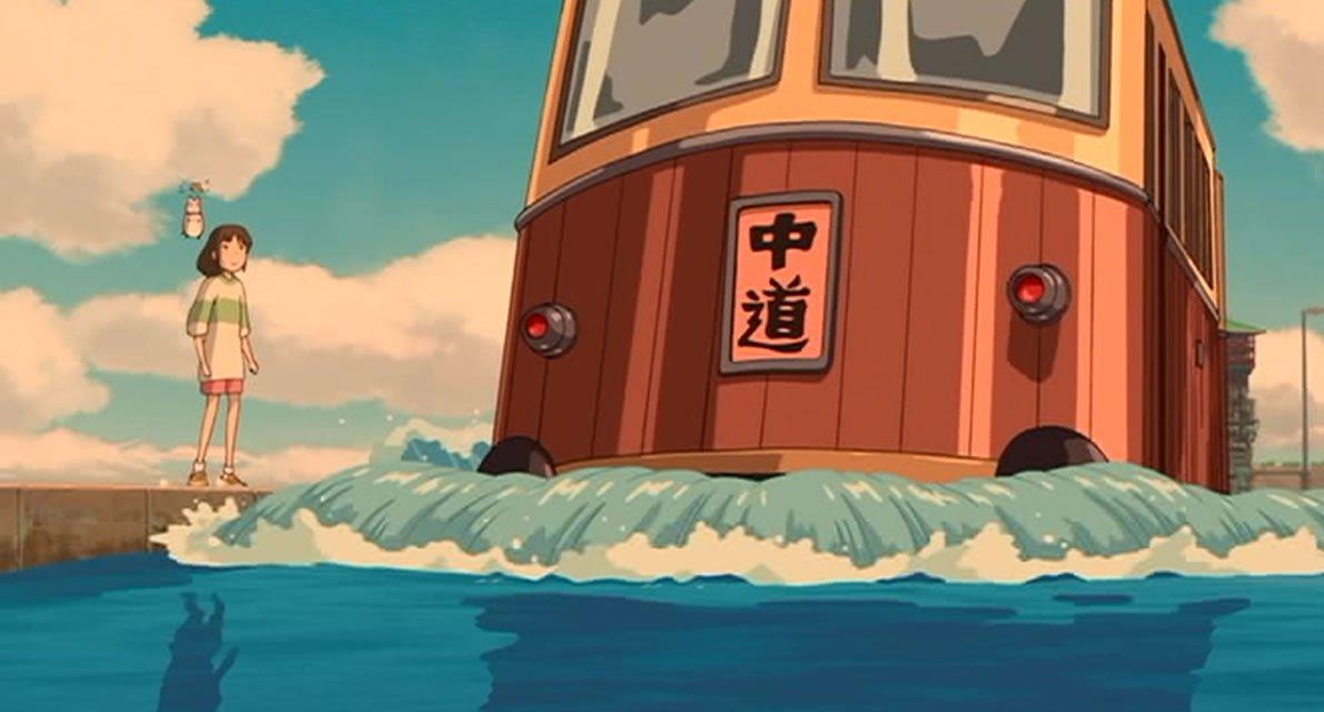 電車の行き先には「中道」と書かれています。『#千と千尋神隠し』は神道の世界観が強いですが、「中道」は仏教用語です。釜爺に「6つ目の駅で必ずおりろ」と念を押されたのは、仏教の六道を意味していて、そこで降りなければ外道に堕ちて帰ってこれないことを意味しているのかもしれません。