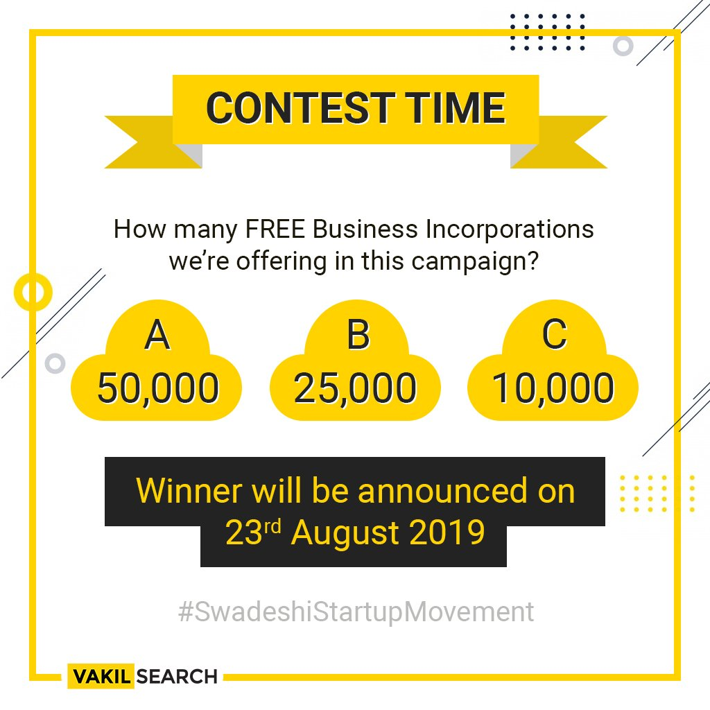 #SwadeshiStartup Contest is here. Answer the question & stand a chance to win Rs 1000 #Amazon #voucher.   HINT: http://bit.ly/31Es7sD  To participate in the contest: 1. Like/Follow Instagram, FB & Twitter  2. Tag #Vakilsearch, #SwadeshiStartupMovement & 3 of your friends