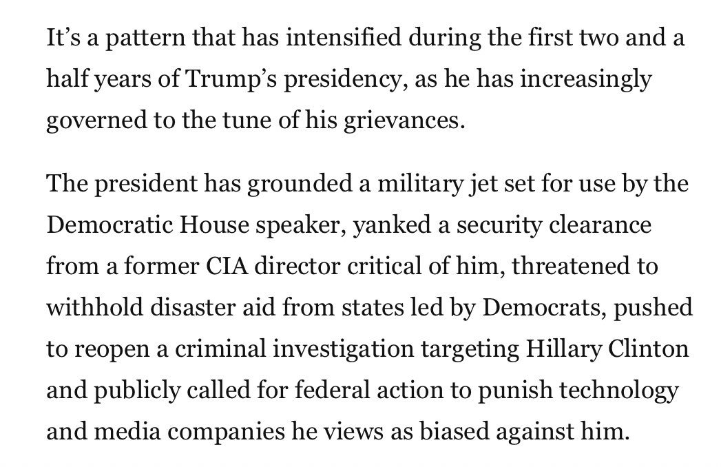 Technically, I can't add this to the #ToddlerinChief thread, because his staff isn't the one characterizing his behavior. That said, hoo boy...  https://www. washingtonpost.com/politics/gover ning-by-grievance-trump-wields-official-powers-against-political-enemies/2019/08/15/797c7576-bf78-11e9-b873-63ace636af08_story.html  … <br>http://pic.twitter.com/Qi8UV5pJVQ