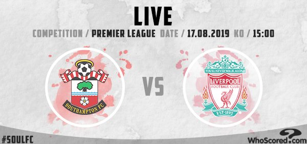 ⏰ LIVE: Southampton 🆚 Liverpool 🏆 Competition: Premier League 📍 Location: Southampton 🆚 Last meeting: #SOU 1-3 #LFC Follow the action live -- whoscored.com/Matches/137594…