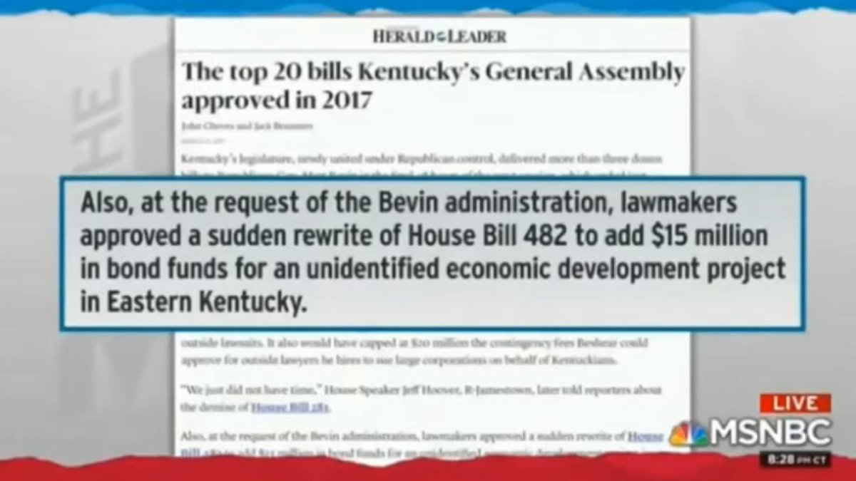 #BREAKING:STUNNING #Maddow revelation that KY Governor (in conjunction with #MoscowMitch) essentially DUPED KY State legislators into APPROVING BOND FUNDS for the Russian Oligarchs project. #SAD  #TheResistance #CNN #MSNBC #FoxNews #Yahoo #Google #FridayThoughts #FBRParty<br>http://pic.twitter.com/KTHcAz24TC