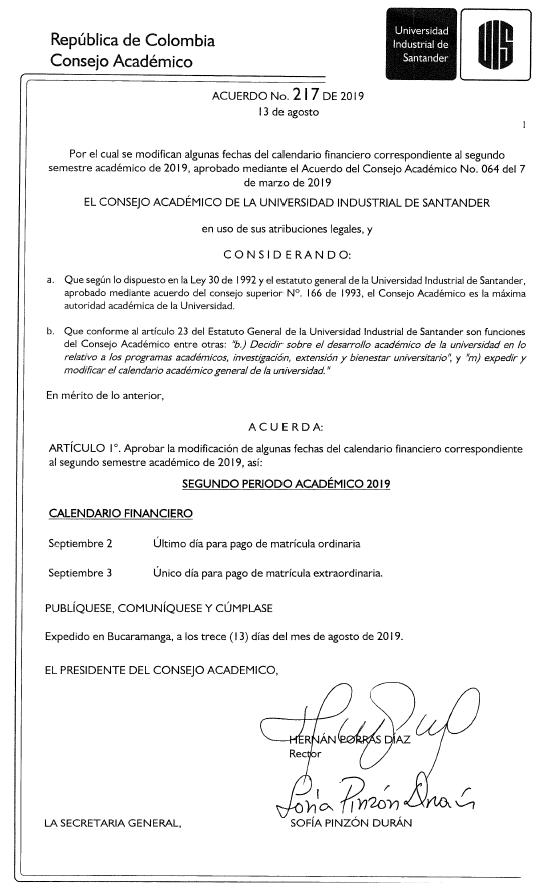 Calendario Financiero 2019.Uis On Twitter El Consejo Academico Expidio El Acuerdo No