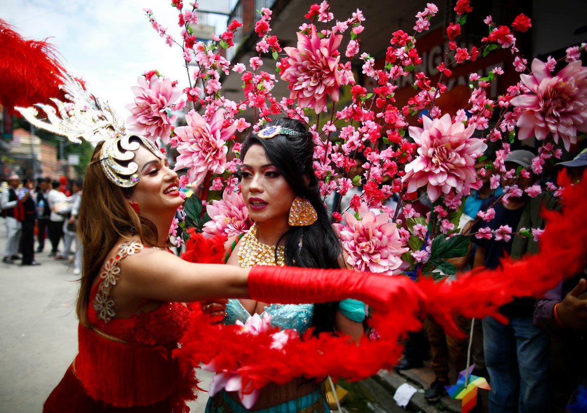 Revelers take part in the pride parade of LGBTI community in Kathmandu, Nepal on Friday, August 16, 2019.