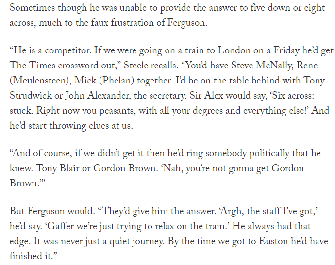 This story from Eric Steele on @TheAthleticUK about Sir Alex Ferguson calling up Prime Ministers to help him finish his crossword has amused me.