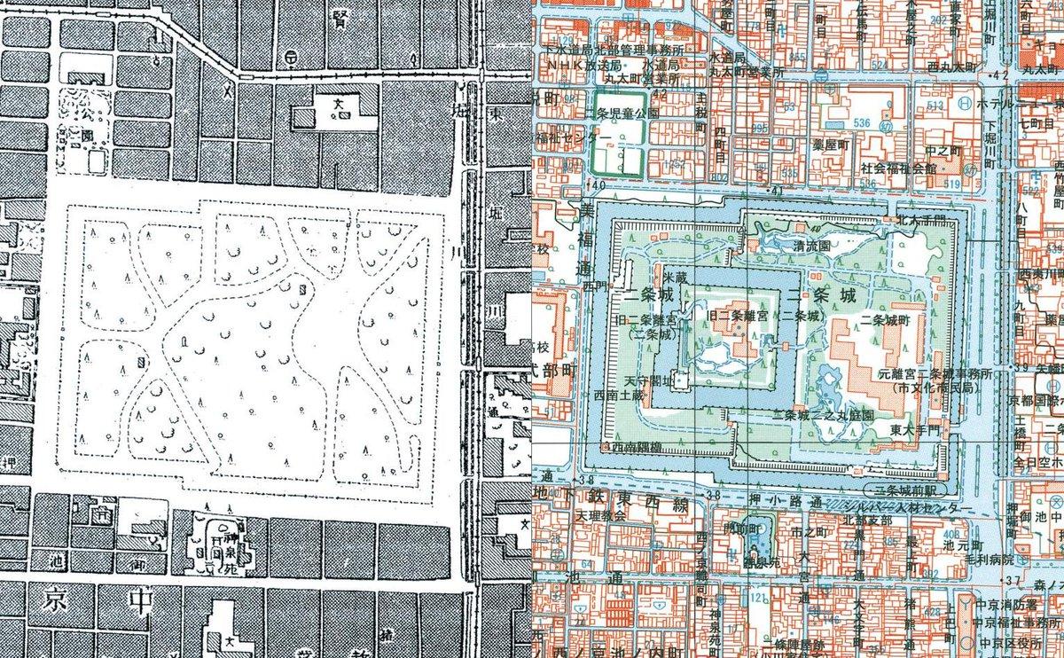 二条城も重要施設として『戦時改描』されていました。昭和の初めの地形図では「怪しげな園地」として描かれています。左図は1万分1地形図「京都北部」1940年(昭和15年)刊行、右図は1万分1地形図「京都御所」「太秦」2005年(平成17年)刊行です。