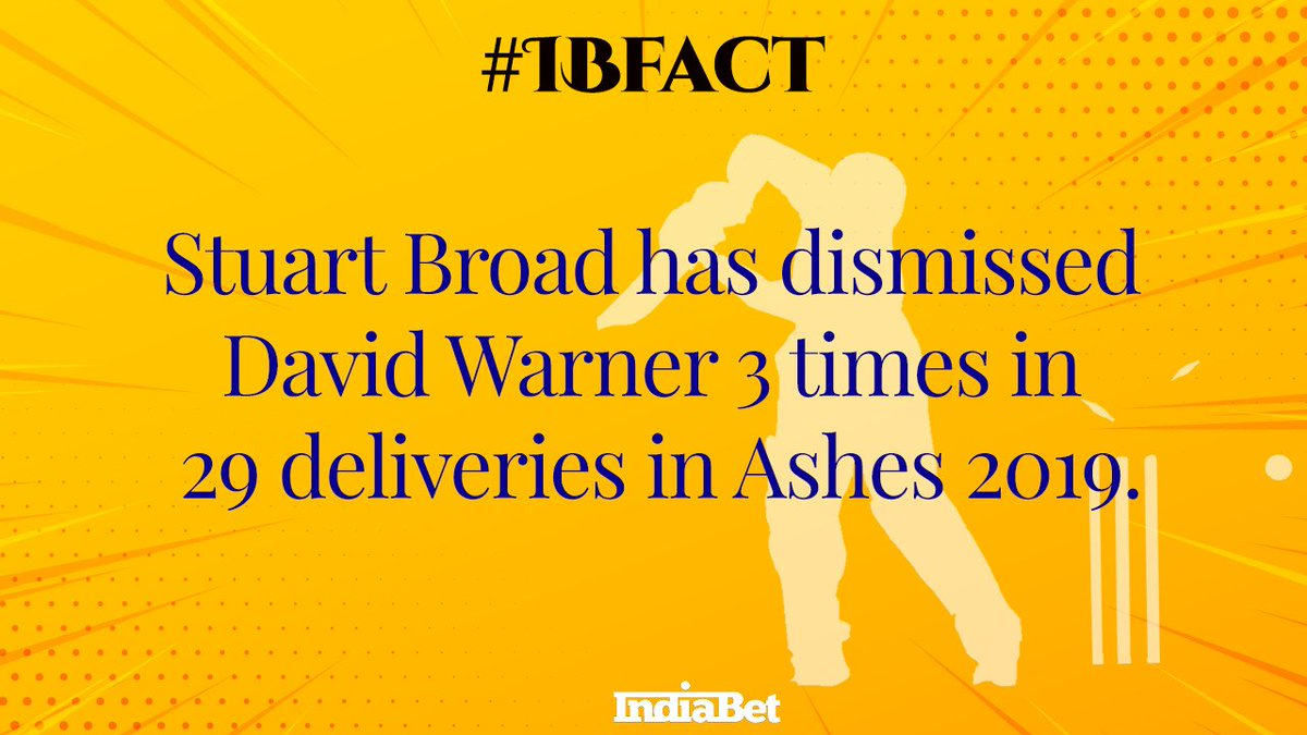 #IBFact@StuartBroad8 has got the better of @davidwarner31 in Ashes 2019 so far.#cricket #doyouknow #cricketfact #ashes #Ashes2019 #Ashes19 #ENGvsAUS #England #Australia #stuartbroad #davidwarner