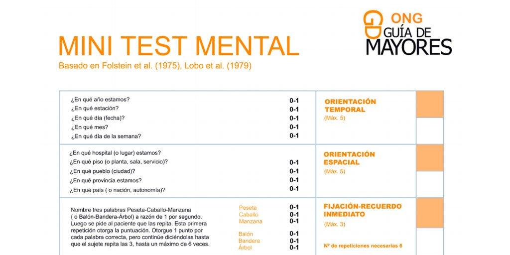 test Twitter Media - ✍Compartimos el Test #Alzheimer MMSE (Mini-Mental State Examination) de Folstein, que ayuda a descubrir si la #PersonaMayor puede tener deterioro cognitivo, como alzheimer u otro tipo de demencias seniles.  Vía @guiademayores https://t.co/Tu6LuQ8zsX https://t.co/C80OrgZJaQ
