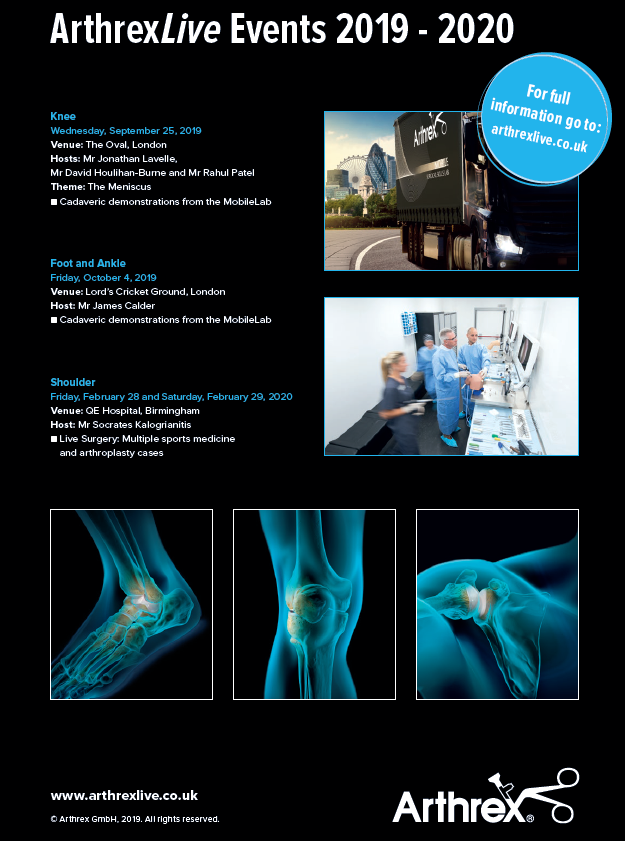You can checkout our full schedule of #ArthrexLive events at https://loom.ly/6nYTSkA  where you will also find information on registration, faculty and venues for our upcoming Knee - Menisus evening, Foot & Ankle and Shoulder courses! #DiscoverArthrex