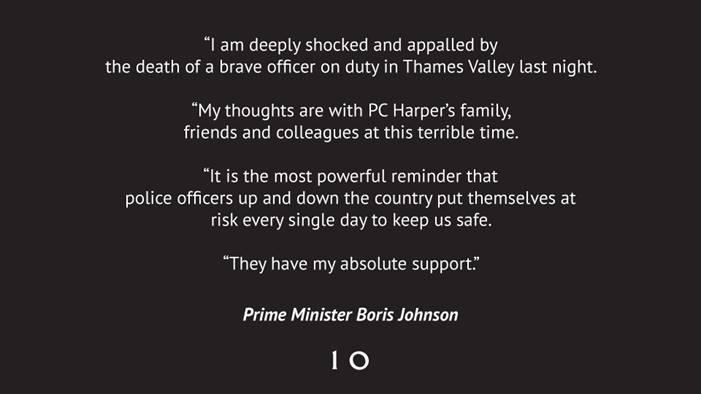 Prime Minister @BorisJohnson on the death of PC Andrew Harper.