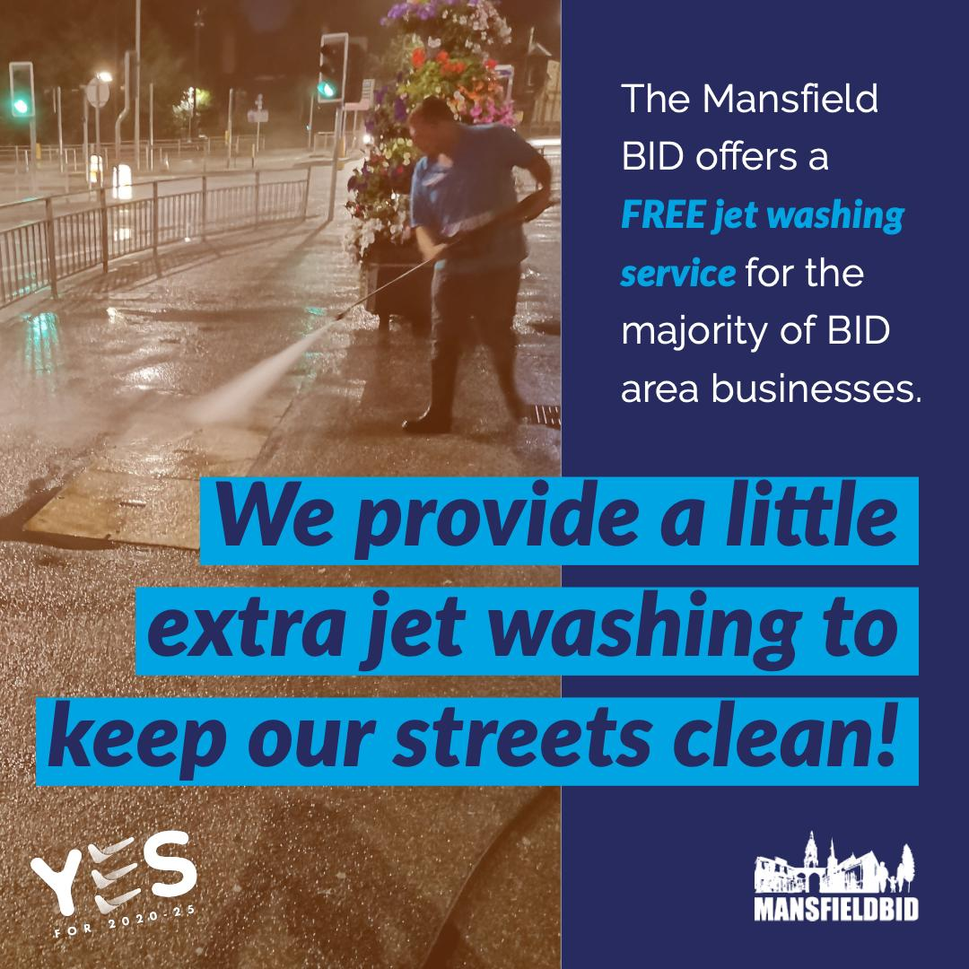 Is your street in need of extra JET WASHING? We offer this as a FREE service! Ensure you back us and VOTE YES to keep this service up and running! *This service is available subject to the type of outdoor paving. ✅ ✅ ✅ #iLoveMansfieldBID #VoteYES2020