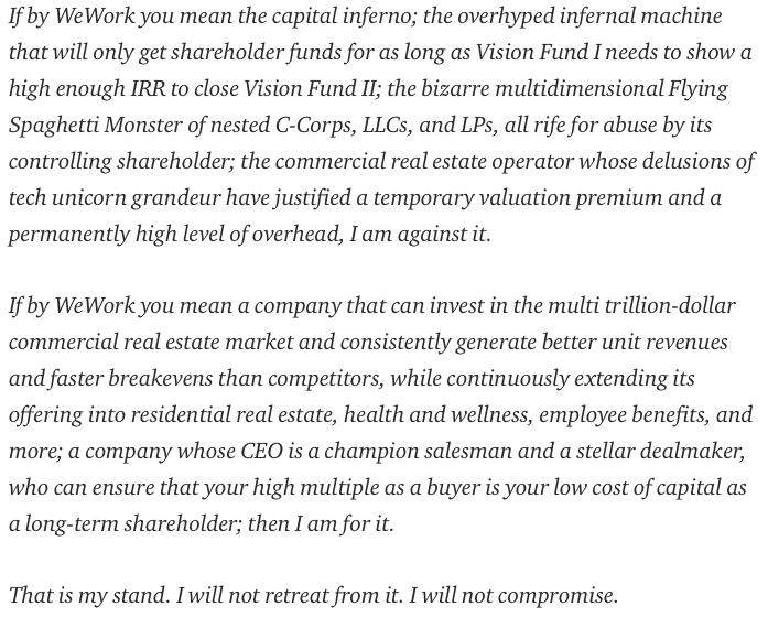 Best summary I've read, by a mile, of the perplexing, slippery, and creative real estate/tech company called WeWork.  Undoubtedly 2019's investor inkblot test. Kudos to @byrneseyeview.   https://medium.com/@byrnehobart/what-is-we-understanding-the-wework-ipo-b74f0f1f1b46…