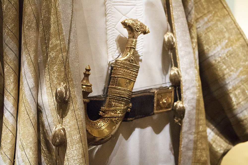T.E. Lawrence, who was born #onthisday, worked closely with Emir Faisal (later King of Iraq) during his time in the Arab army. On his suggestion, he adopted the Arab dress which included this traditional khanjar, or dagger. See Lawrence of Arabias robes on display in gallery 5