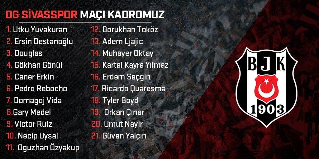 📋 D.G. Sivasspor Maçı Kadromuz ⚽ #SVSBJK ⚫️⚪️#Beşiktaş