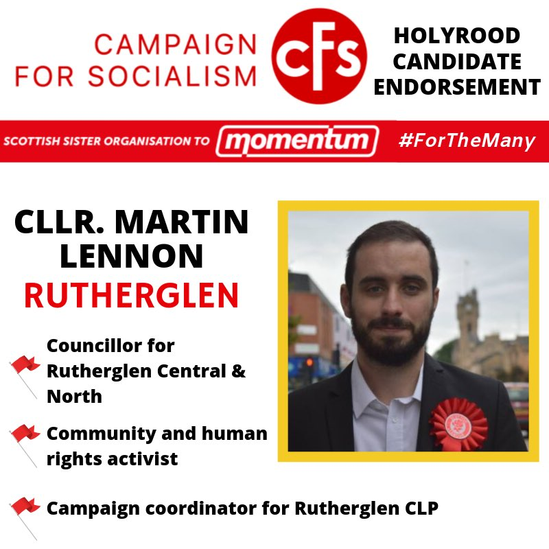 ANNOUNCEMENT: In 2017 Labour stood strong in Rutherglen Central & North electing @M4rtinLennon, a long time supporter of a renewed party following a clear democratic socialist vision. We are endorsing him to be our next Rutherglen MSP #ForTheMany