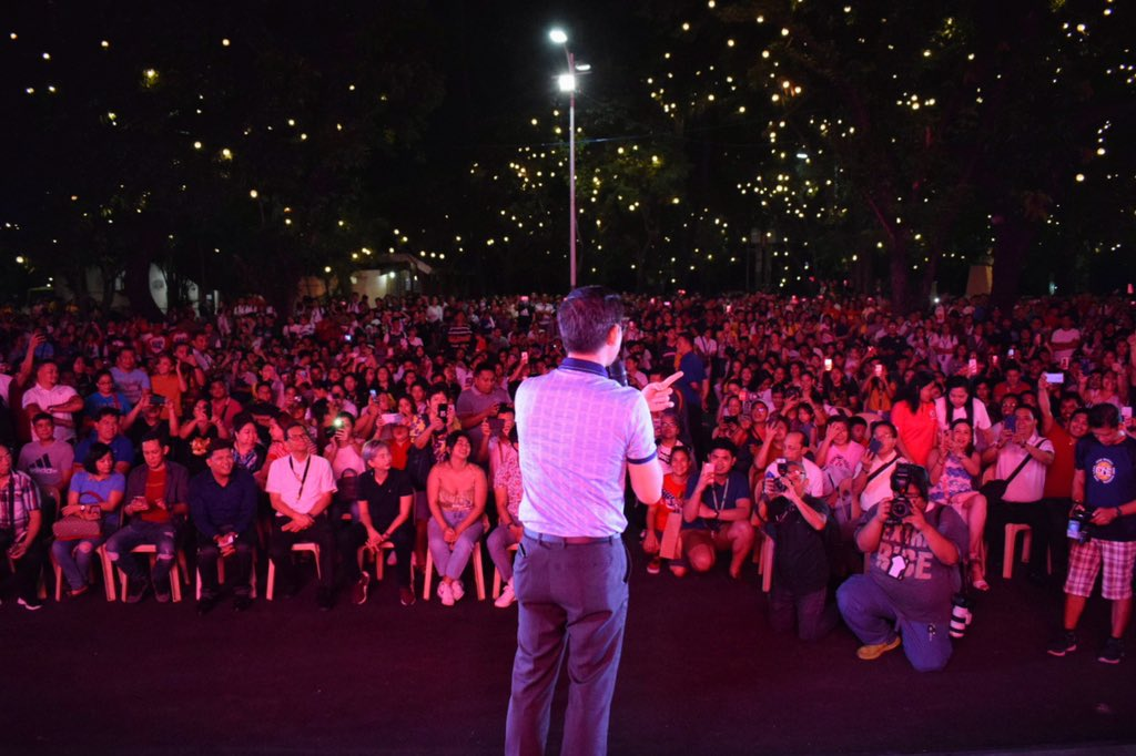 LOOK: Manila City Mayor @IskoMoreno addresses his constituents during the launch of #CineKartilya at the Andres Bonifacio Monument in Lawton (Photos by KR De Asis/MPIO) #BagongMaynila #SimplyNoPlaceLikeManila